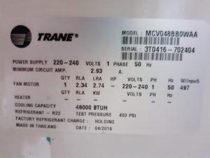 Điều hòa Trane. Model: MCV 0488880WAA